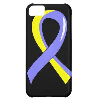 Cinta amarilla azul 3 de Síndrome de Down Funda Para iPhone 5C