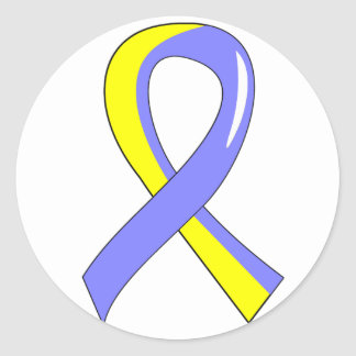 Cinta amarilla azul 3 de Síndrome de Down Etiqueta Redonda