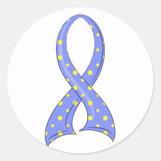 Cinta amarilla azul Síndrome de Down del lunar Pegatina Redonda