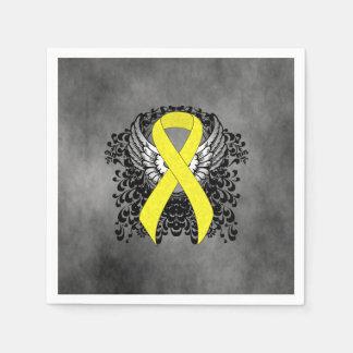 Cinta amarilla con las alas servilleta desechable