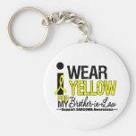 Cinta amarilla del desgaste del sarcoma I para mi  Llaveros Personalizados