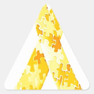Cinta amarilla del modelo del rompecabezas pegatina triangular