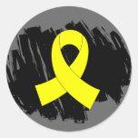 Cinta amarilla del sarcoma con garabato etiqueta