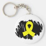 Cinta amarilla del sarcoma con garabato llaveros personalizados