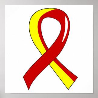 Cinta amarilla roja 3 de la hepatitis C Posters
