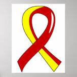 Cinta amarilla roja 3 de la hepatitis C Poster