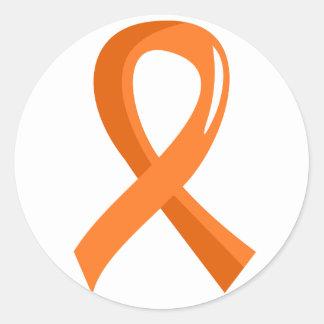 Cinta anaranjada 3 de la leucemia pegatina redonda