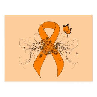 Cinta anaranjada con la mariposa postales