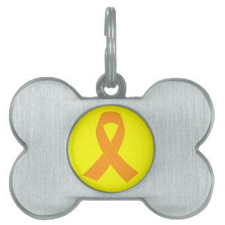 Cinta anaranjada de la conciencia - leucemia, ms placas mascota