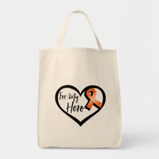 Cinta anaranjada de la conciencia para mi héroe bolsa tela para la compra