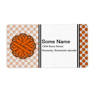 Cinta anaranjada de la flor etiqueta de envío