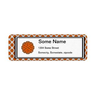 Cinta anaranjada de la flor etiquetas de remite