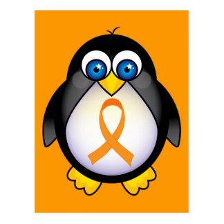 Cinta anaranjada del pingüino del regalo de la tarjeta postal