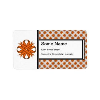 Cinta anaranjada del trébol etiquetas de dirección