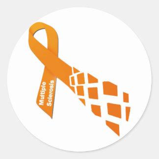 Cinta anaranjada para la esclerosis múltiple pegatina redonda