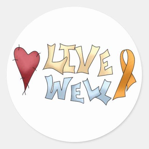 Cinta anaranjada Well- viva de la conciencia Etiquetas Redondas
