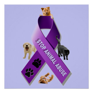 Cinta animal de la conciencia del abuso (abuso ani póster