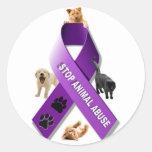 Cinta animal de la conciencia del abuso etiquetas redondas