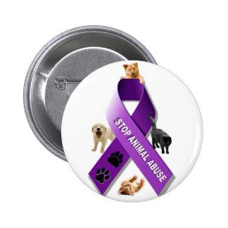 Cinta animal de la conciencia del abuso pin redondo 5 cm