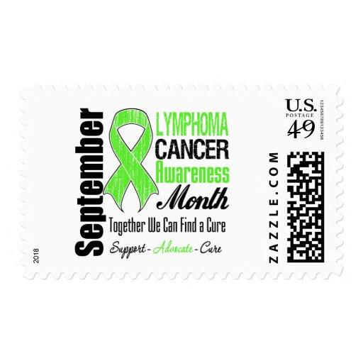 Cinta apenada mes de la conciencia del linfoma sello