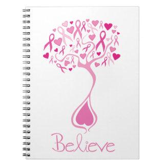 Cinta/árbol rosados del cuaderno del cáncer de pec