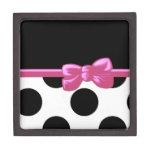 Cinta, arco, lunares - rosa negro blanco caja de recuerdo de calidad