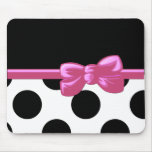 Cinta, arco, lunares - rosa negro blanco tapete de ratón