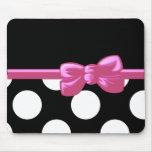 Cinta, arco, lunares - rosa negro blanco alfombrilla de raton