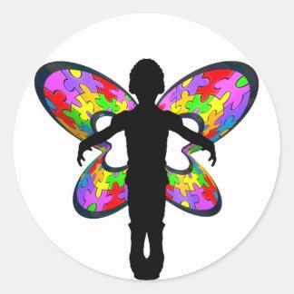 Cinta autística de la mariposa pegatina redonda