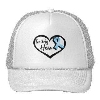Cinta azul clara de la conciencia para mi héroe gorro de camionero