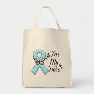 Cinta azul clara para mi héroe bolsa tela para la compra