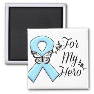 Cinta azul clara para mi héroe imán cuadrado