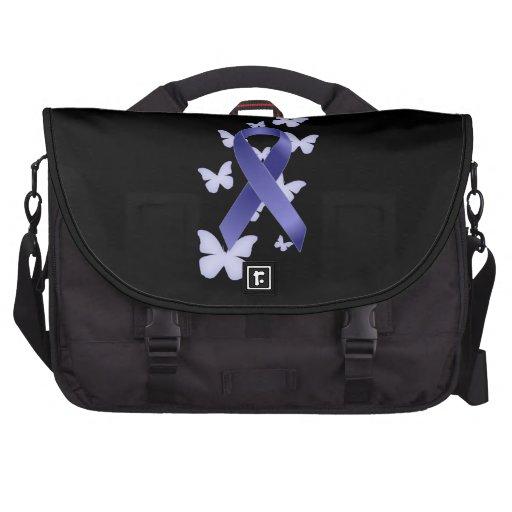 Cinta azul de la conciencia bolsas de portatil