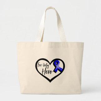 Cinta azul de la conciencia para mi héroe bolsa de tela grande