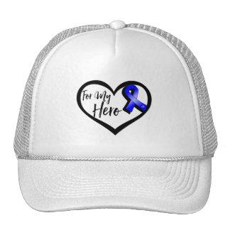 Cinta azul de la conciencia para mi héroe gorros bordados