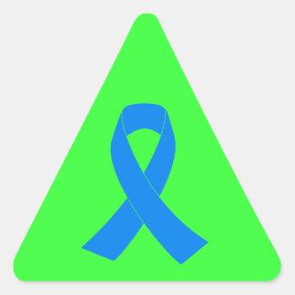 Cinta azul de la conciencia pegatina triangular