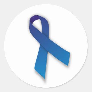 Cinta azul de la conciencia y de la conmemoración pegatina redonda