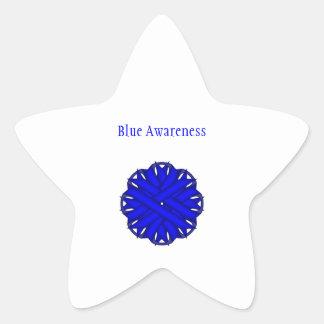 Cinta azul de la flor pegatina en forma de estrella