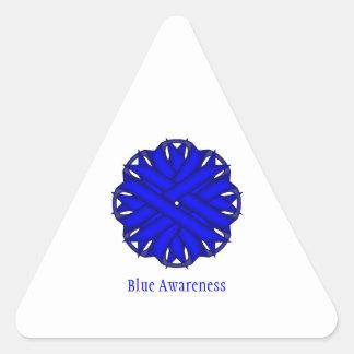Cinta azul de la flor pegatina triangular