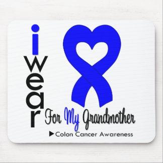 Cinta azul del corazón del cáncer de colon para mi tapete de ratón