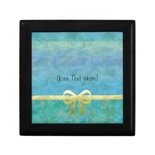 Cinta azul Giftwrap del oro verde Caja De Joyas