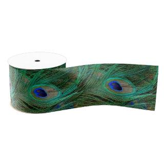 Cinta azul india de la pluma del pavo real lazo de tela gruesa