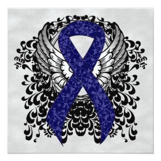"""Cinta azul marino con las alas invitación 5.25"""" x 5.25"""""""