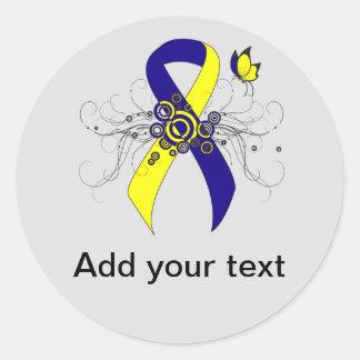 Cinta azul y amarilla con la mariposa etiquetas redondas