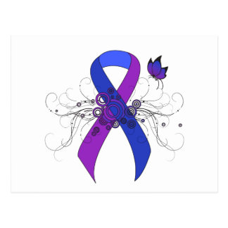 Cinta azul y púrpura con la mariposa postales