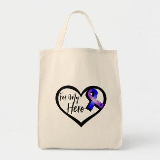 Cinta azul y púrpura de la conciencia para mi bolsa tela para la compra