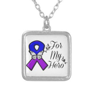 Cinta azul y púrpura de la conciencia para mi colgante cuadrado