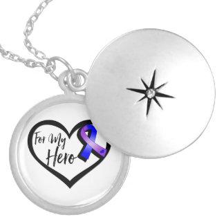Cinta azul y púrpura de la conciencia para mi collar redondo