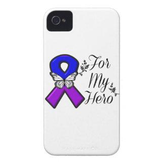 Cinta azul y púrpura de la conciencia para mi funda para iPhone 4 de Case-Mate