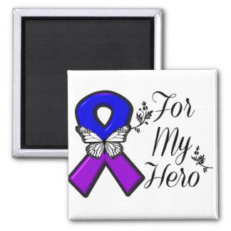 Cinta azul y púrpura de la conciencia para mi imán cuadrado
